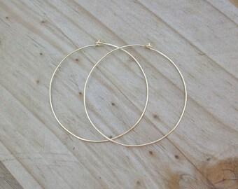 14k Gold Hoop Earrings. 2 inch hoop earrings. 14k Gold Filled Hoop Earrings.