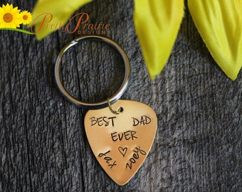 Custom Guitar Pick KeyChain - Best Dad Ever - Handstamped Pick - Father's Day Gift - Guitar Lovers Pick - Hand Made Guitar Pick - Dad's Gift