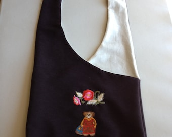 Handmade Brown Hobo Shoulder Purse With Patches