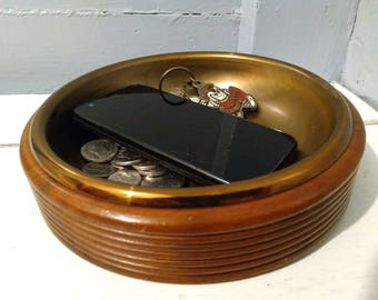 Vintage, Wood, Bowl, Dresser Valet, Desk Caddy, Metal, Tray, Catch-All, Coin Tray, RhymeswithDaughter