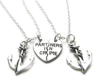 2 Partners In Crime Anchor Necklaces, Best Friends Necklaces, Sisters Necklaces, Anchor Necklaces, Friends Necklaces
