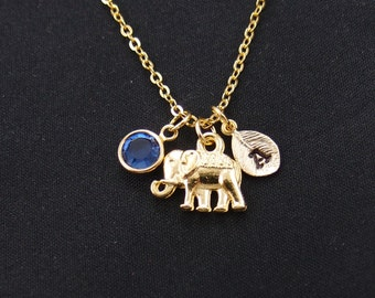 tiny elephant necklace, gold filled, initial necklace, birthstone necklace, gold animal charm on gold chain, good luck, birthday, christmas