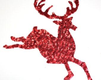 Deer Iron On Applique, Hot Fix Transfer Applique, Sequins Christmas Deer Applique