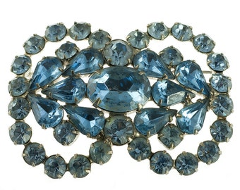 Large Blue Rhinestone Brooch