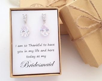 Teardrop bridesmaid , Bridal Earring,  Cubic Zirconia Earrings  with message gift box