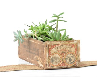 Old Wooden Cigar Box - Vintage Wooden Succulent Garden Box - Antique Thurbers Number 5 Cigar Box - Antique Box
