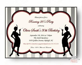 Roaring 20s Birthday Invitation // 1920s Invitation Printable // Flapper Girl Birthday Invitation // Great Gatsby Birthday Invitation