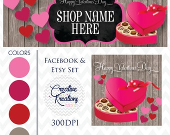 Timeline Banner Happy Valentines Day Hearts & Candy Facebook Cover Set Facebook Business Page Set - Digital Files