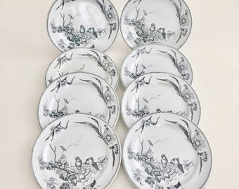 Set of 8 breakfast plates, Jacob Baggaley 1880-1886, aesthetic movement design