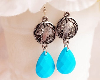 Art Nouveau Earrings - Turquoise Earrings - Handmade Jewelry - RICHMOND Turquoise
