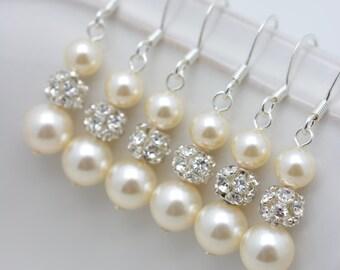 8 Pairs Ivory Pearl and Rhinestone Earrings, Ivory Pearl Earrings, 8 Bridesmaid Gifts, Pearl and Crystal Earrings, Long Pearl Earrings 0150