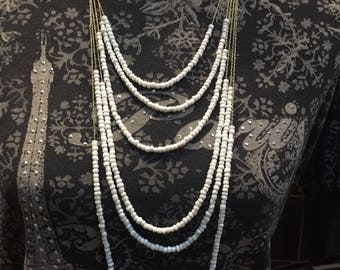6 Strands - White Beaded Necklace