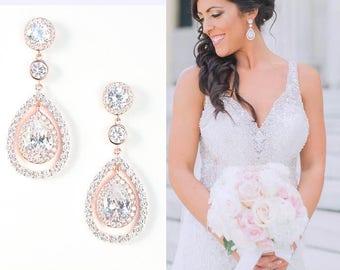 Bridal Earrings Rose Gold Teardrop Wedding Earrings Cubic Zirconia Pear Drop Earrings Best Bridal Earrings