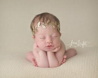 gold headband, baby headband, newborn headbands, gold leaf headband, infant headband, headband baby, boho baby headband,
