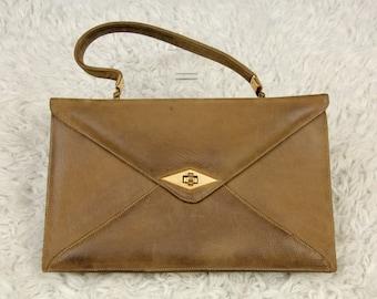 Vintage 60s Suede Leather Envelope Clutch Handbag by Nicholas Reich, Pink Satin Lined Mid Century Evening Bag