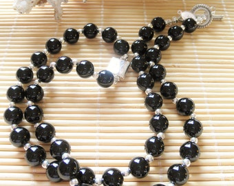 Onyx Necklace and sterling silver bead necklace