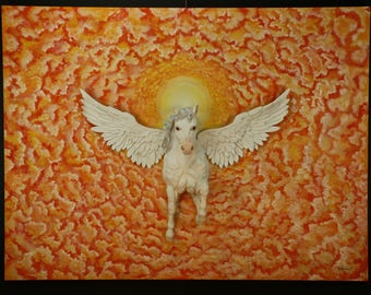 """Wall Sculpture, oil painting """"Pegasus Winged Horse"""" 48""""x36"""""""