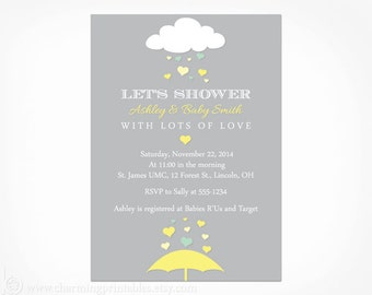 Yellow and Gray Baby Shower Invitation - PRINTABLE PDF File - Umbrella Rain April Showers Gender Neutral Baby Shower Invite