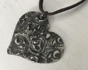 Rustic Heart necklace, hand forged, soldered necklace