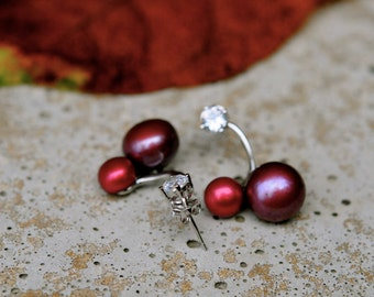 cheery cherry red pearl earrings, unique double pearl earrings, red pearl earrings