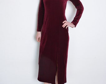 90's burgundy velvet dress, dark red velvet long sleeve dress, grunge minimalist slit dress, evening bodycon square neckline dress, wine red