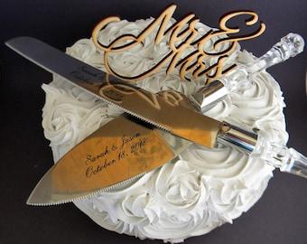 Personalized Engraved Wedding Cake Serving Set Knife and Server