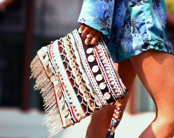 Banjara Bag, Vintage Coin Bag, Tribal Clutch Bag, Gypsy Clutch, Boho Clutch, Indian Bag called Madeleine