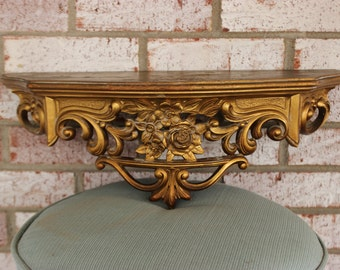 Vintage Retro Gold Syroco Wall Shelf Scroll Roses Hollywood Regency