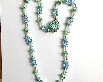 Sale: Vintage Blue and White Swirl Glass Bead and Crystal Necklace