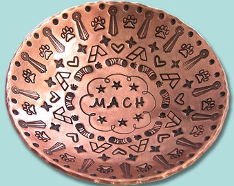 MACH Hand Stamped Copper Ring Dish