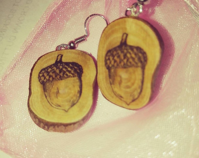 Acorn oak seed Necklace / Earrings / Keyfob Wooden Charm Brown  Eco Friendly Handmade Personalised Charms Wood Hand made Jewellery #Etsy