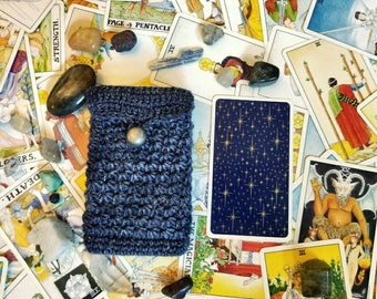 Tarot Card Case - All That Glitters - Button-Top Pouch - Doctor Who Blue/Night Sky/Navy & Silver - RWS Tarot