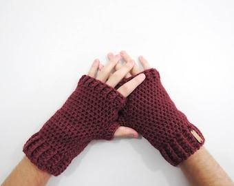 Crochet Mens Oxblood Mittens Fingerless Gloves. Red Wine Crochet Texting Mittens. Mens Driving Gloves. Marsala Wrist Warmers. Mens Gloves.