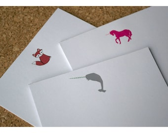 Party Favors Set of Mini Note Pads Narwhal, Unicorn and Little Fox - Mini Notepad - Animal Notepads - Narwhal - Unicorn - Fox - Personalized