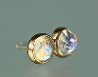 Moonstone Studs - Moonstone Posts - Rose Cut Gem Studs - Blue Moonstone Earrings - Rose Cut Moonstone Studs - Moonstone 14 KT RoseGold Studs