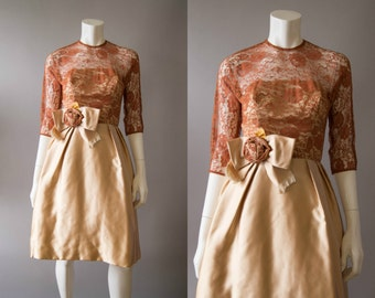 vintage 1950s dress / 50s lace party dress / extra small