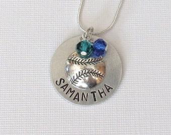 Softball Necklace, Baseball Necklace, Personalized, Hand Stamped, Softball Team, Team Gift, Softball Coach, Senior Gift, Softball Gift