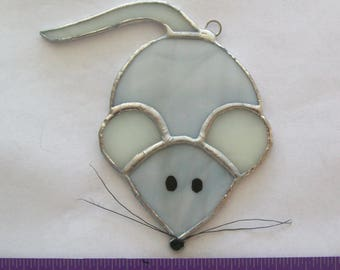 Mouse mousie stained glass mousey gray ornament or suncatcher
