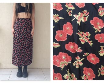 00's Cute Boho Floral Designer Maxi Skirt / small / extra small / festival / bohemian skirt / gypsy / boho / grunge