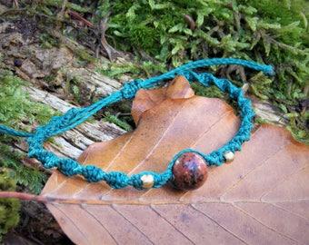 macrame bracelet with mahagoni obsidian stone, handmade