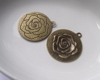 Pendentif rose composants 2 pièces set Bronze/laiton/or composant Destash