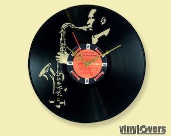 John Coltrane jazz saxophone wall clock from used vinyl record flute gift handmade unique music