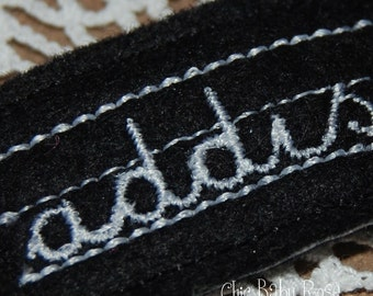 Personalized Wool Felt Chalkboard Hair Clip by Chic Baby Rose