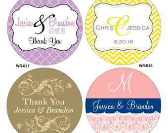 42 - 3.5 inch Personalized Glossy Waterproof Wedding Stickers - hundreds of designs to choose from - change designs to any color or wording