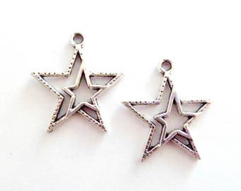 x 2 perforated 21 mm x 23 mm Metal Silver Star charms