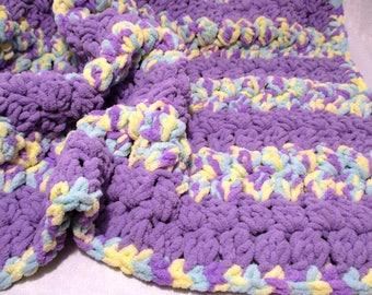 Purple Yellow and Seafoam Green Baby Blanket, Crochet Baby Blanket, Chenille Baby Blanket, Girl Baby Blanket, Baby Blanket for Girl