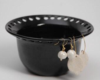 Pottery earring organizer, pottery earring holder, ceramic earring bowl, balck