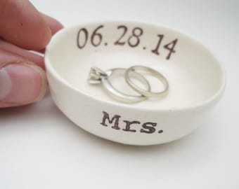 custom MRS gift wedding date RING HOLDER gift for bride ring holder wedding date bridal shower gift hers ring pillow wedding gift ceramic