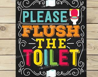 Flush the Toilet Sign Printable - Kids Bathroom Art - Flush Toilet Sign - Wall Art for Bathrooms - Classroom Decor - Bathroom Rules Sign