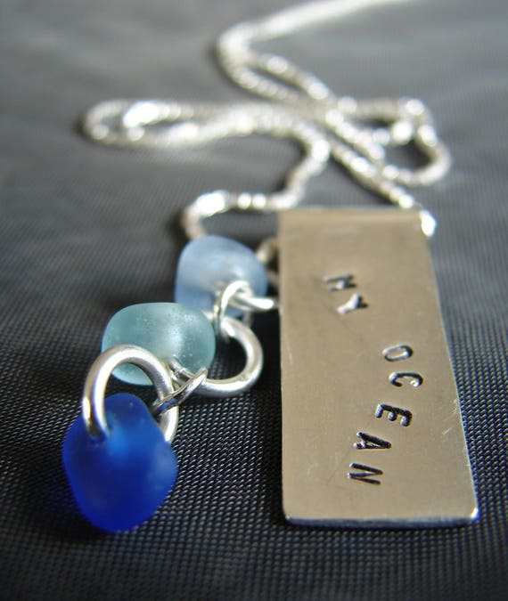 My Ocean sea glass necklace in shades of blue
